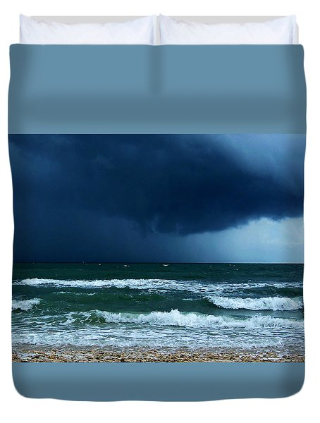 Duvet Cover featuring the photograph Stormy Day At Honeymoon Island 000 by Chris Mercer