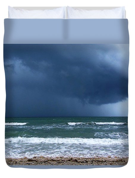 Duvet Cover featuring the photograph Stormy Day At Honeymoon Island 001 by Chris Mercer