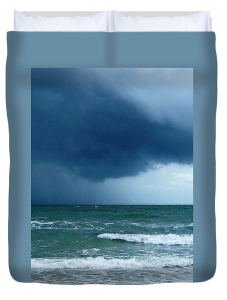 Duvet Cover featuring the photograph Stormy Day At Honeymoon Island 003 by Chris Mercer
