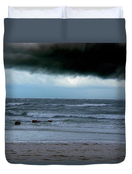 Duvet Cover featuring the photograph Stormy Day At Honeymoon Island  by Chris Mercer