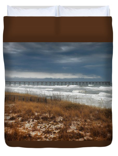 Stormy Day At The Pier Duvet Cover