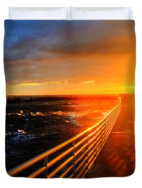Duvet Cover featuring the photograph Stormy Inlet Sunrise by Don Durfee
