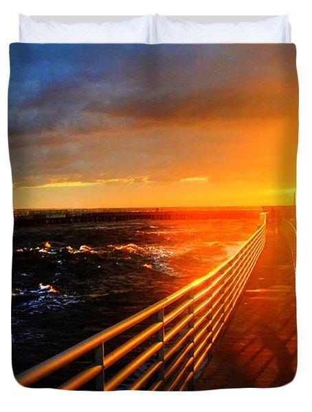 Stormy Inlet Sunrise Duvet Cover