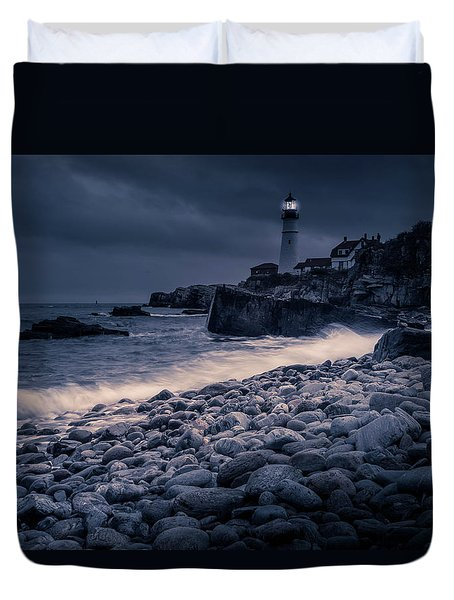 Duvet Cover featuring the photograph Stormy Lighthouse 2 by Doug Camara