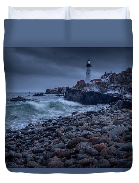 Duvet Cover featuring the photograph Stormy Lighthouse by Doug Camara