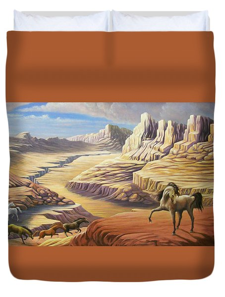 Duvet Cover featuring the painting Stormy by Loxi Sibley