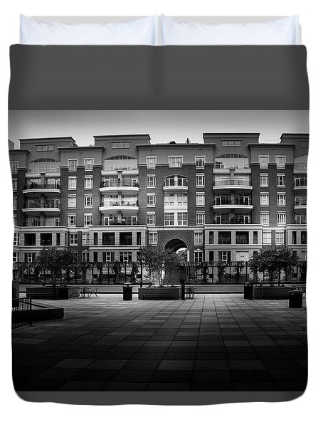 Stormy Morning At North Church Condos In Black And White Duvet Cover