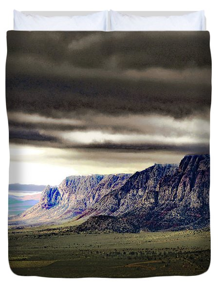 Stormy Morning In Red Rock Canyon Duvet Cover by Alan Socolik
