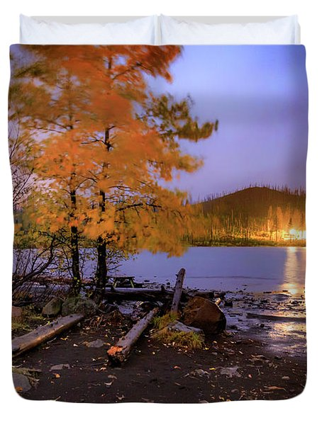 Duvet Cover featuring the photograph Stormy Night At Round Lake by Cat Connor