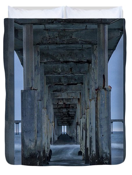 Stormy Pier In Ocean Beach Duvet Cover