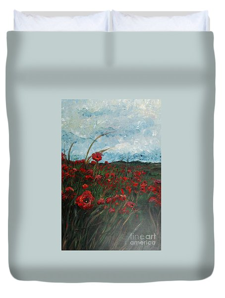 Stormy Poppies Duvet Cover by Nadine Rippelmeyer