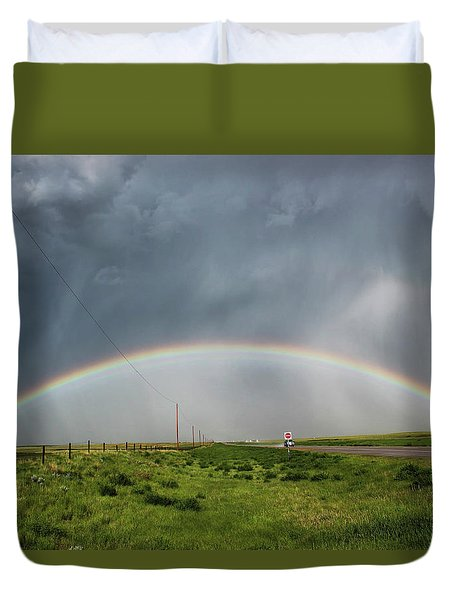 Duvet Cover featuring the photograph Stormy Rainbow by Ryan Crouse