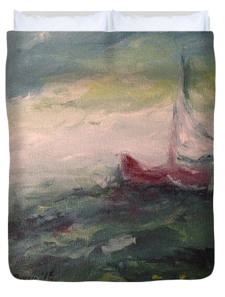 Stormy Sailboat Duvet Cover by Roxy Rich