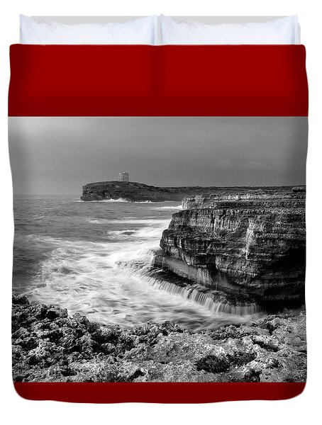 Duvet Cover featuring the photograph stormy sea - Slow waves in a rocky coast black and white photo by pedro cardona by Pedro Cardona
