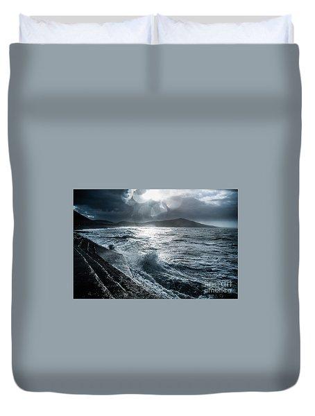 Stormy Seas At Tanybwlch Aberystwyth Duvet Cover