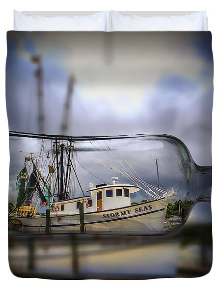 Stormy Seas - Ship In A Bottle Duvet Cover by Bill Barber