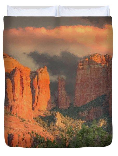 Stormy Sedona Sunset Duvet Cover