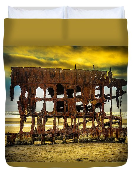 Stormy Shipwreck Duvet Cover by Garry Gay