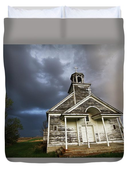 Stormy Sk Church Duvet Cover