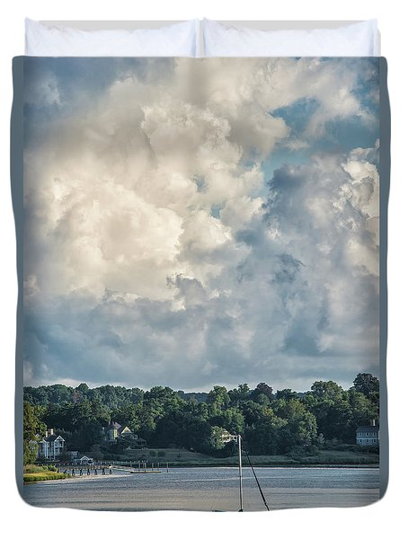 Stormy Sunday Morning On The Navesink River Duvet Cover