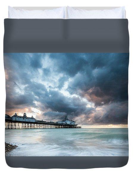 Stormy Sunrise Over Eastbourne Pier Duvet Cover