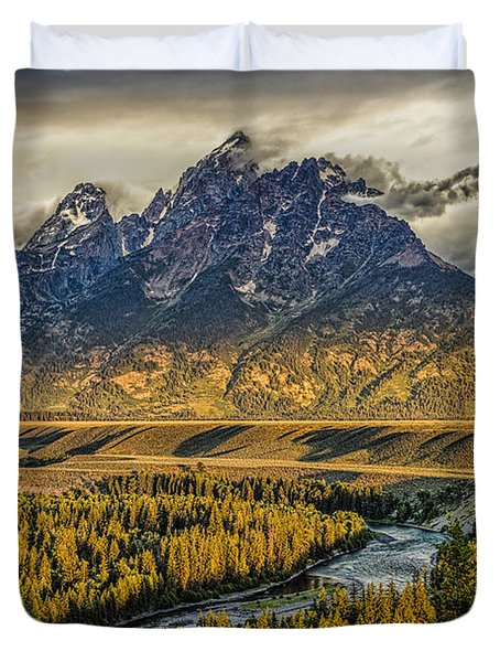 Stormy Sunrise Over The Grand Tetons And Snake River Duvet Cover