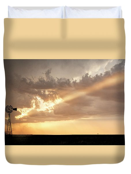 Duvet Cover featuring the photograph Stormy Sunset And Windmill 01 by Rob Graham