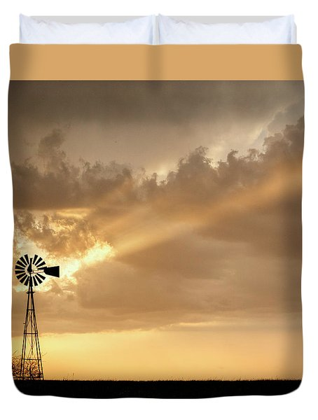 Duvet Cover featuring the photograph Stormy Sunset And Windmill 02 by Rob Graham