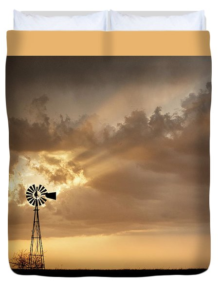 Duvet Cover featuring the photograph Stormy Sunset And Windmill 03 by Rob Graham