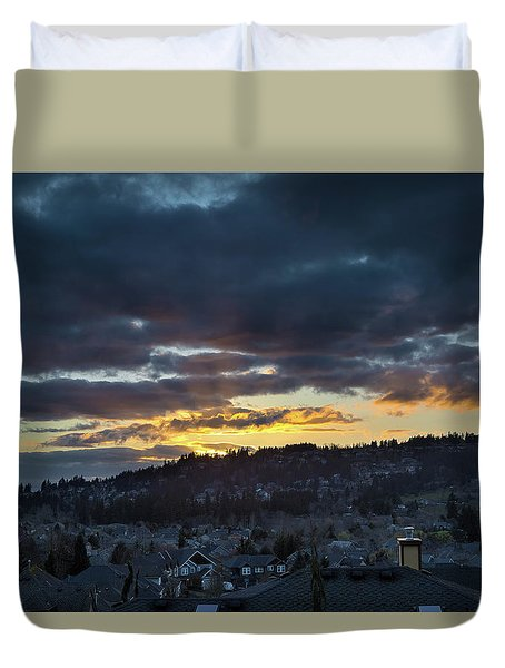 Stormy Sunset Over Happy Valley Oregon Duvet Cover by David Gn