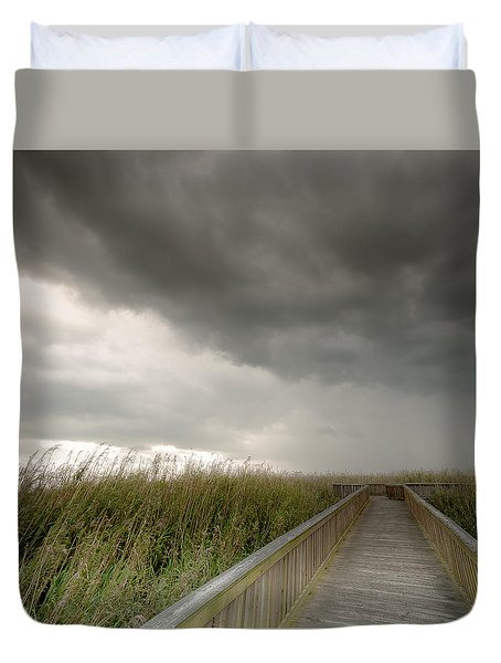 Duvet Cover featuring the photograph Stormy Walk by Allen Biedrzycki