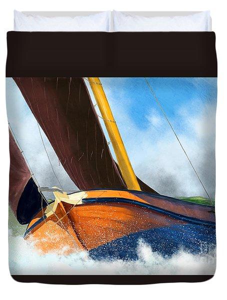 Stormy Weather Skutsje Sailing Ship Duvet Cover