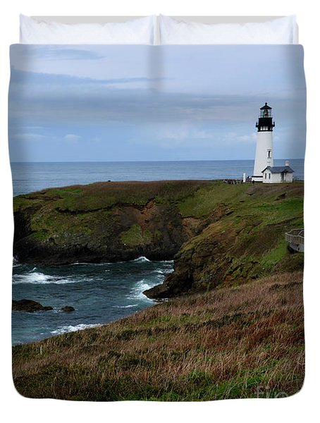 Stormy Yaquina Head Lighthouse Duvet Cover