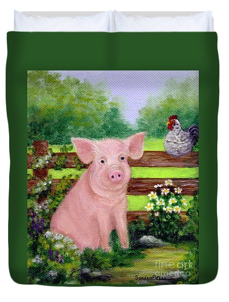 Duvet Cover featuring the painting Storybook Pig by Sandra Estes