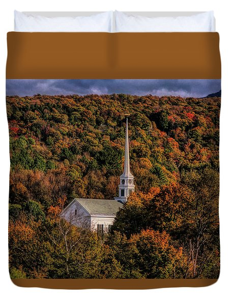 Stowe Church In Fall Colors Duvet Cover