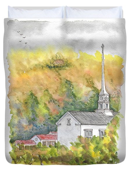 Stowe Community Church, 1839, Stowe, Vermont Duvet Cover
