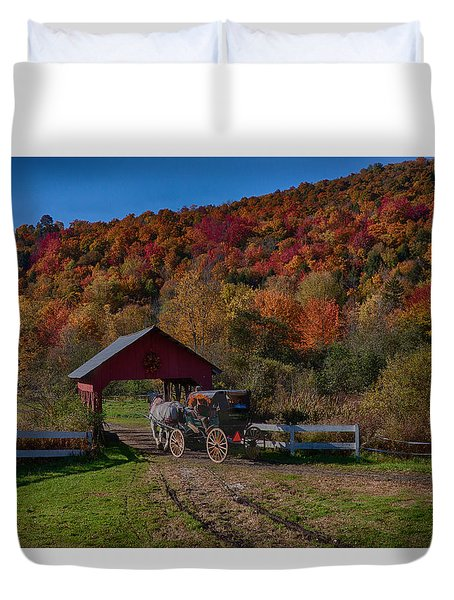 Stowe Vermont Carriage Ride Duvet Cover
