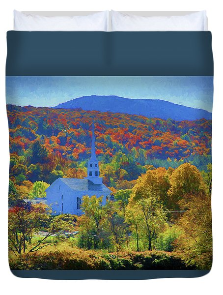 Duvet Cover featuring the photograph Stowe Vermont Church In Fall by Jeff Folger