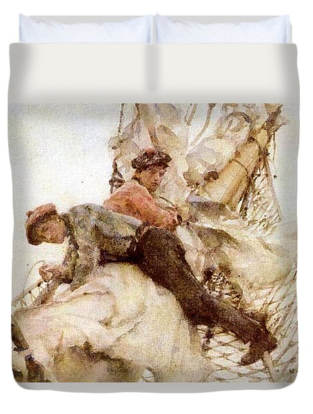 Duvet Cover featuring the painting Stowing The Headsails  by Henry Scott Tuke