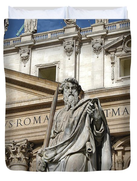 St.peter Statue At The Vatican Duvet Cover