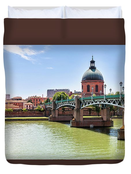 Duvet Cover featuring the photograph St.pierre Bridge In Toulouse by Elena Elisseeva