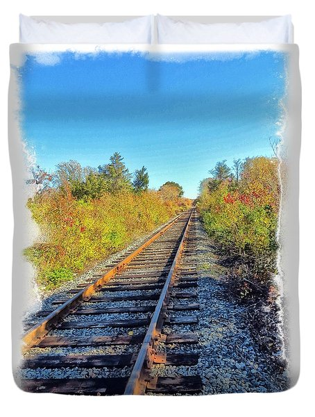 Duvet Cover featuring the photograph Straight Track by Constantine Gregory
