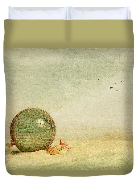 Stranded On A Sand Bar Duvet Cover by Theresa Tahara