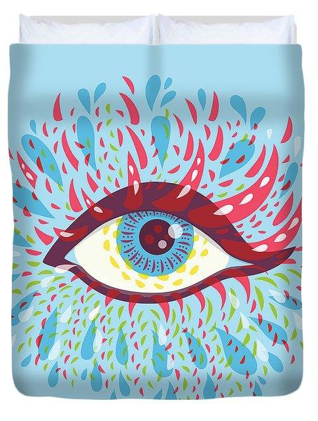 Strange Blue Psychedelic Eye Duvet Cover
