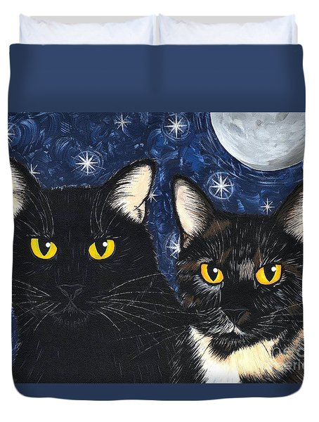 Duvet Cover featuring the painting Strangeling's Felines - Black Cat Tortie Cat by Carrie Hawks