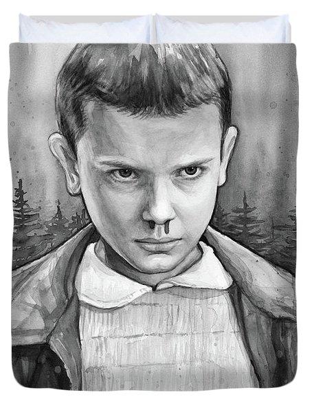 Stranger Things Fan Art Eleven Duvet Cover by Olga Shvartsur