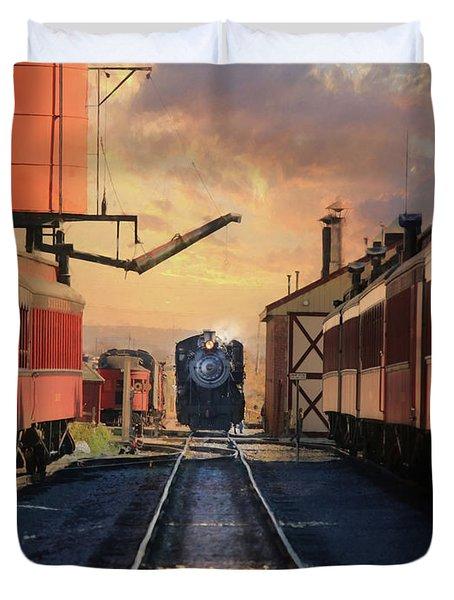 Strasburg Railroad Station Duvet Cover by Lori Deiter