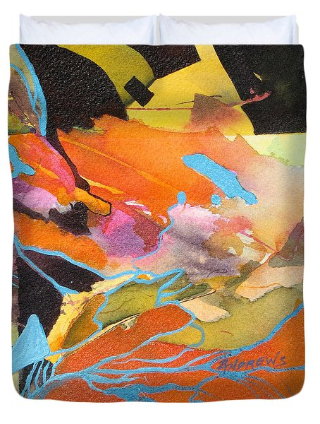 Duvet Cover featuring the painting Strata by Rae Andrews