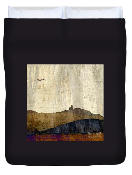 Strata With Lighthouse And Gull Duvet Cover