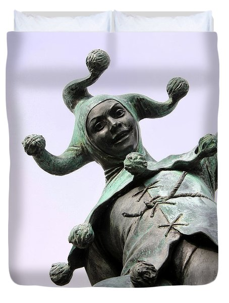 Stratford's Jester Statue Duvet Cover by Terri Waters